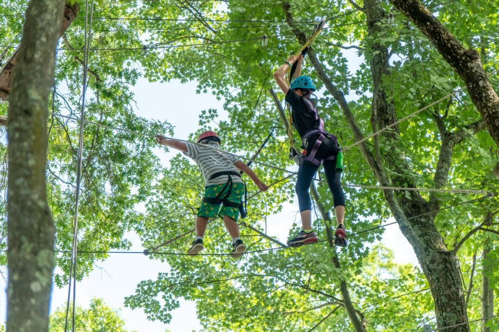 high ropes with counselor
